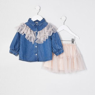 River Island Mini girls Blue mesh frill shirt outfit