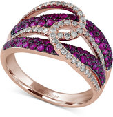 Effy Rosa by Ruby (3/4 ct. t.w.) and Diamond (1/3 ct. t.w.) Looped Designed Statement Ring in 14k Rose Gold