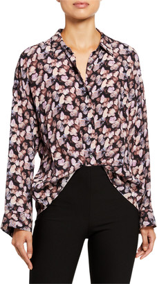 Vince Micro Painted Floral Button-Down Top