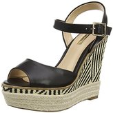 Jane Norman Women Wedge Mono Printed Open-Toe Heels,39 EU