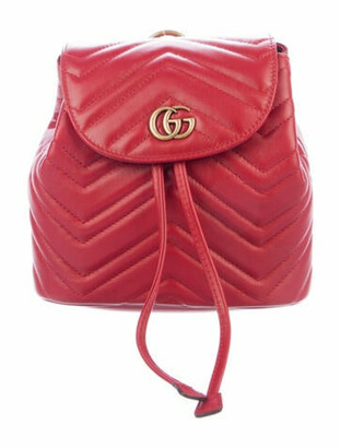 Gucci GG Marmont Mini Matelasse Backpack w/ Tags Red