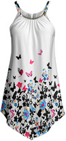 Lily Women's Tunics WHT - White & Black Butterfly Handkerchief-Hem Yoke Tunic - Women & Plus