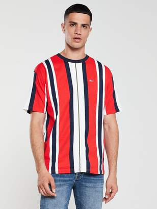 Tommy Jeans Vertical Stripe T-Shirt - Red