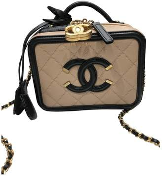 Chanel Vanity Beige Leather Handbags