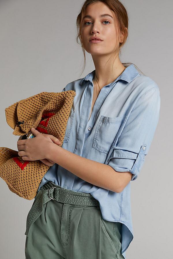 Cloth & Stone Lori Chambray Buttondown By Cloth & Stone in Blue Size XS