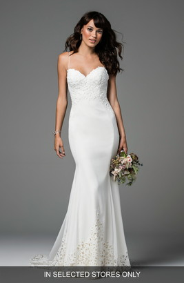 Willowby Ridley Backless Laser Cut Lace & Georgette Gown