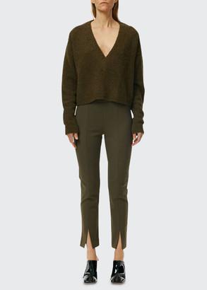 Tibi Boucle Alpaca Slit-Cuff Sweater