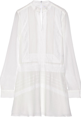 Derek Lam 10 Crosby Lace-trimmed Pintucked Crepe De Chine Mini Dress