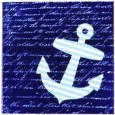 3dRose cst_112807_3 Blue and White Striped Anchor on with Vintage Handwriting-Ceramic Tile Coasters, Set of 4