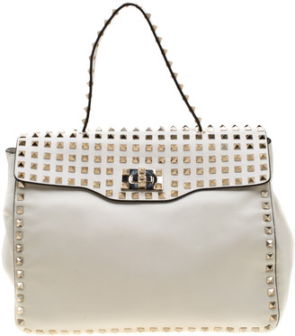 Valentino Ivory Leather Medium Rockstud Flap Tote