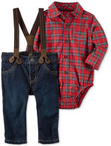 Carter's 3-Pc. Plaid Bodysuit, Suspenders and Jeans Set, Baby Boys (0-24 months)