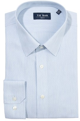 Tie Bar Heathered Chambray Dobby Blue Non-Iron Dress Shirt