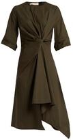 Marni Knotted asymmetric cotton-poplin dress