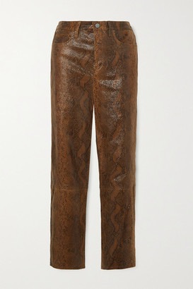 J Brand Ruby Snake-effect Leather Skinny Pants - Brown