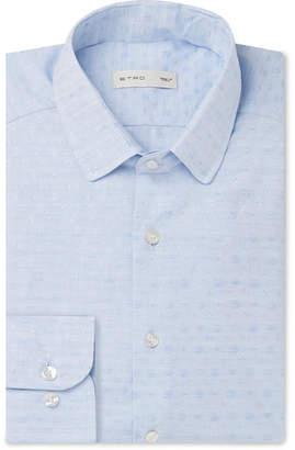 Etro Blue Cotton-Jacquard Shirt