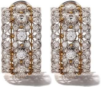 Buccellati 18kt white gold medium hoop diamond earrings