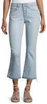 Derek Lam 10 Crosby Gia Mid-Rise Cropped Flare Jeans with Released Hem, Light Blue