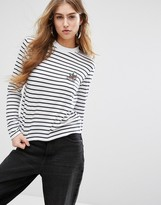 Daisy Street Long Sleeve T-Shirt In Breton Stripe With Tattoo Bird Print