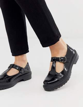 Asos Design DESIGN Madrid chunky mary jane flat shoes in black