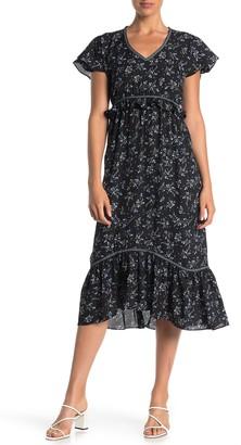 Max Studio Floral V-Neck Flutter Sleeve Midi Dress
