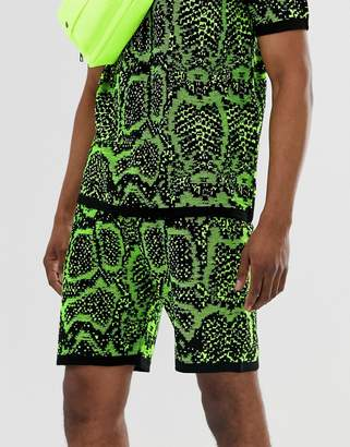 Asos Design DESIGN Two-Piece knitted shorts in neon snake design-Green