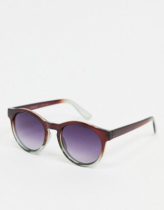 A. J. Morgan AJ Morgan round sunglasses in brown with grey lens