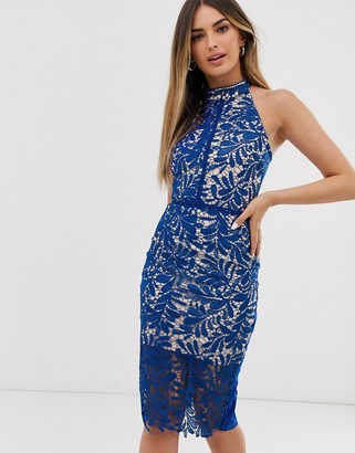 Parisian halterneck bodycon dress with lace overlay-Blue