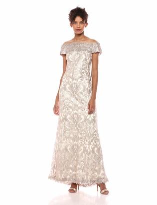 Tadashi Shoji Women's s/s Corded lace Gown w/Illusion Neckline