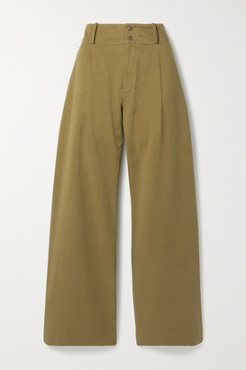 TRE by Natalie Ratabesi The Argonite Pleated Cotton-twill Wide-leg Pants - Army green