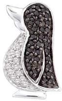 KATARINA and White Diamond Penguin Fashion Pendant with Chain in 14K White Gold (1/4 cttw)