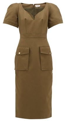 Alexander McQueen Sweetheart-neckline Cotton-canvas Midi Dress - Khaki