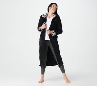 Stan Herman Petite Class Plush Zip Robe with Faux Fur Trim