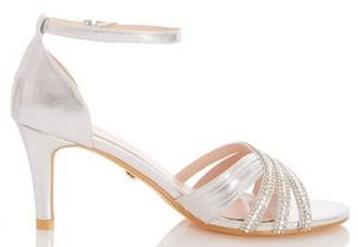 Dorothy Perkins Womens Quiz Silver Diamente Mid Heel Sandals, Silver