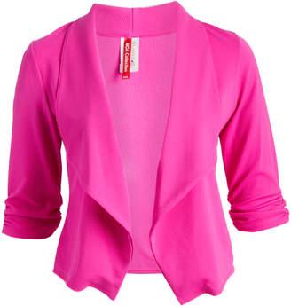 Moa Collection MOA Collection Women's Open Cardigans Magenta - Magenta Drape-Neck Blazer - Plus