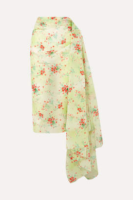 Dries Van Noten Draped Floral-print Taffeta Skirt - Green