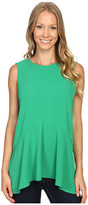Vince Camuto Sleeveless Paneled Ruffle Front Blouse with Slits