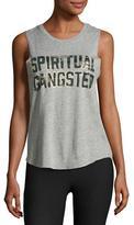 Spiritual Gangster Camo-Logo Muscle Tank Top, Gray