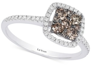 LeVian Le Vian Chocolatier Diamond Halo Cluster Ring (1/2 ct. t.w.) in 14k White Gold
