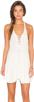 Lucca Couture Lace Up Ribbed Flare Tank Dress