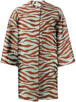 Odeeh animal print cropped sleeve coat