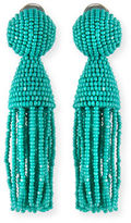 Oscar de la Renta Short Beaded Tassel Clip Earrings