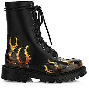 Vetements Women's Flame Leather Combat Boots