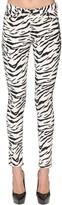 Saint Laurent Skinny Zebra Print Cotton Denim Jeans