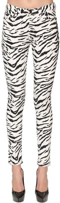 Saint Laurent Skinny Zebra Print Cotton Denim Jeans