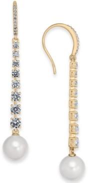 Eliot Danori Imitation Pearl & Cubic Zirconia Linear Drop Earrings, Created for Macy's