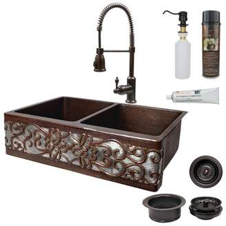 "Premier Copper Products 33"" L x 22"" W Double Bowl Apron Kitchen Sink with Faucet Premier Copper Products"
