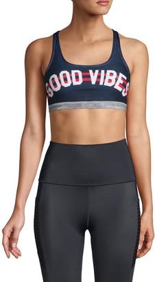 Wear It To Heart Graphic Strappy Sports Bra