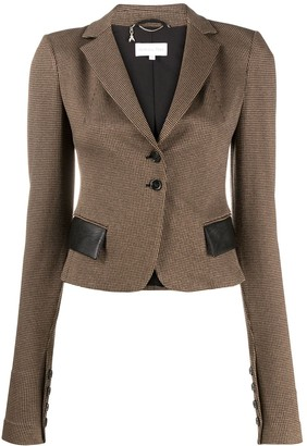 Patrizia Pepe Slim-Fit Faux-Leather Pocket Blazer