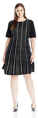 Sandra Darren Women's Plus Size 1 Pc Elbow Sleeve Fit & Flare Sweater Dress