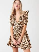 AX Paris Leopard Print Wrap Puff Sleeved Dress - Beige